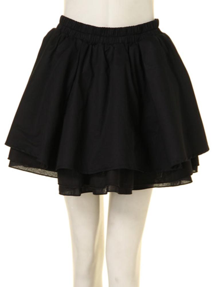 【CASUAL】コットンボリュームスカート(ブラック-M)