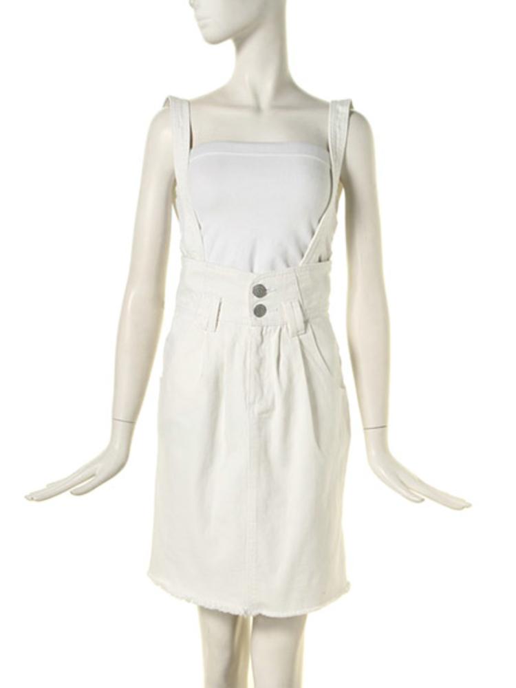 サス付きデニムタイトスカート(オフホワイト-S)