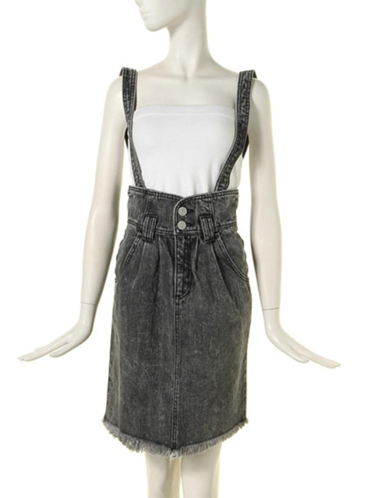 サス付きデニムタイトスカート(ブラック-S)