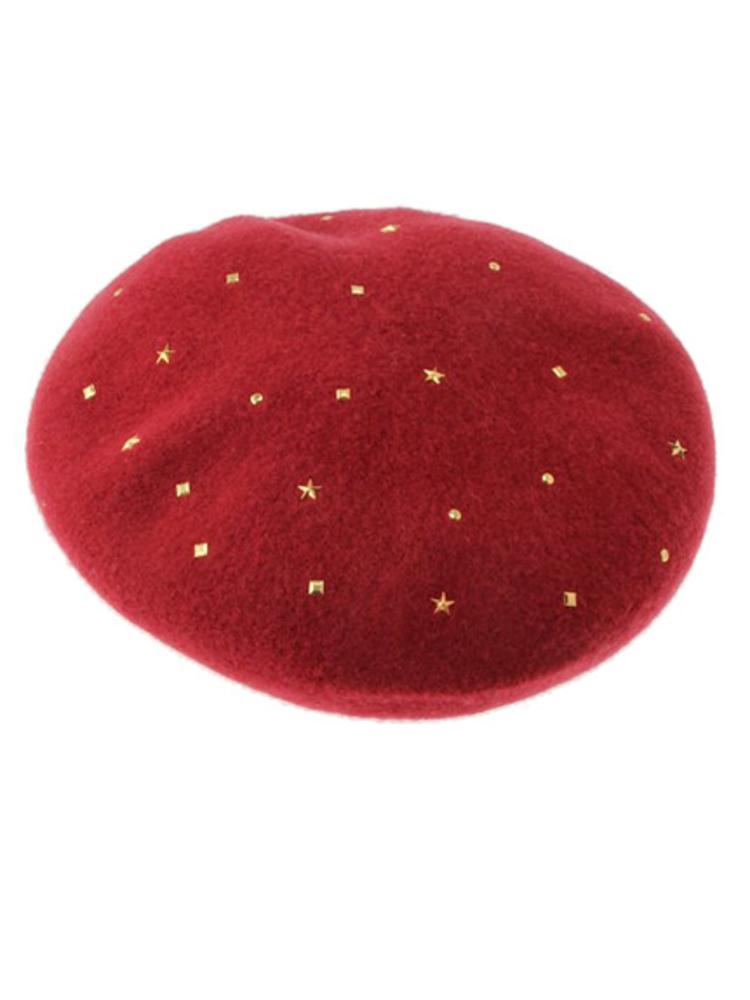 【CASUAL】スタッズベレー帽(ボルドー-F)