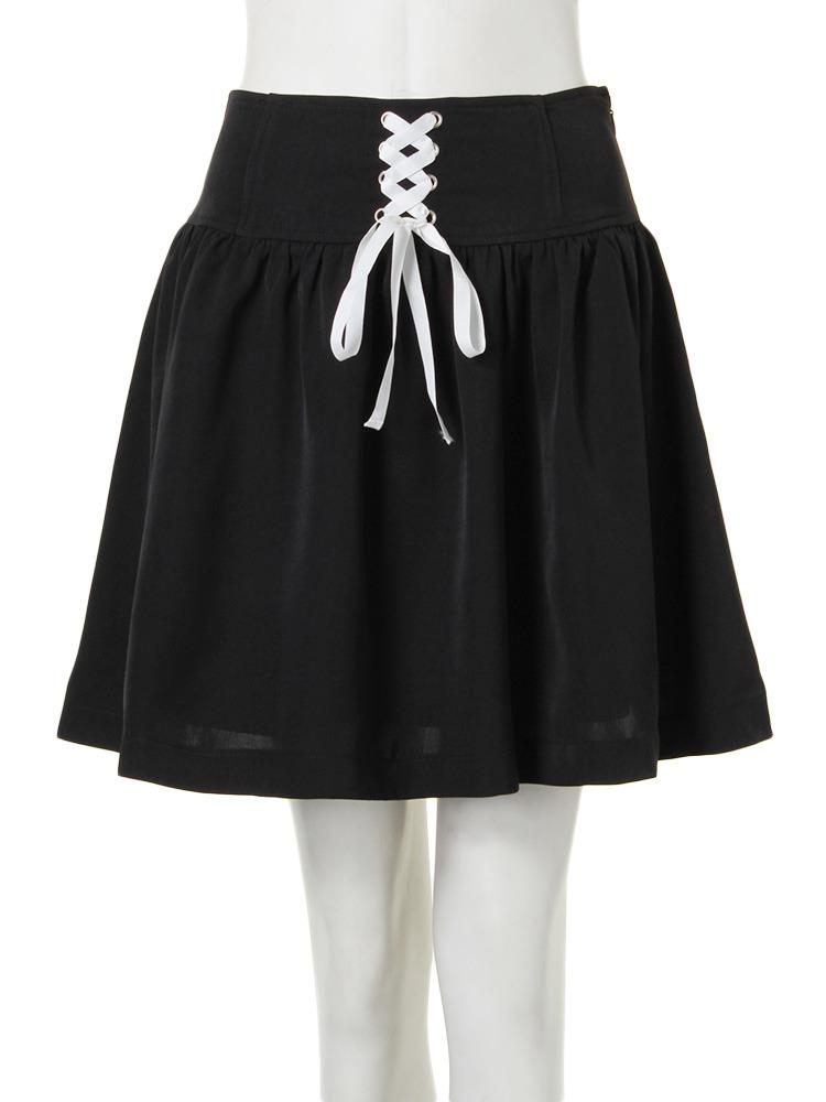 【CASUAL】レースUPスカート(ブラック-M)