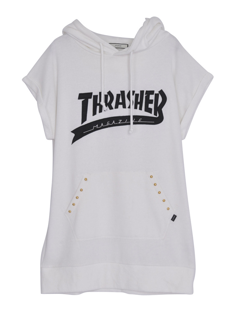 【CASUAL】THRASHERカレッジロゴチュニックパーカー(オフホワイト-M)