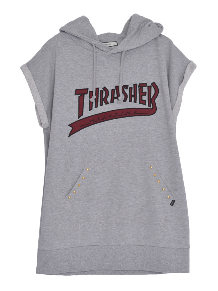 【CASUAL】THRASHERカレッジロゴチュニックパーカー(グレー-M)