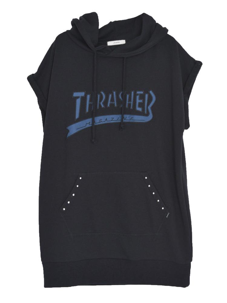 【CASUAL】THRASHERカレッジロゴチュニックパーカー(ブラック-M)