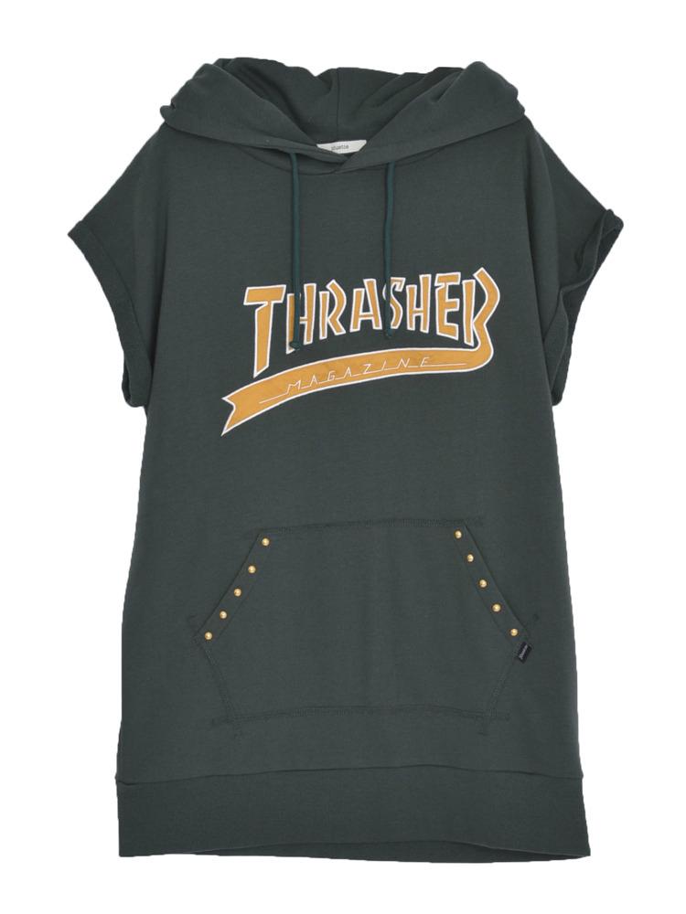 【CASUAL】THRASHERカレッジロゴチュニックパーカー(ダークグリーン-M)