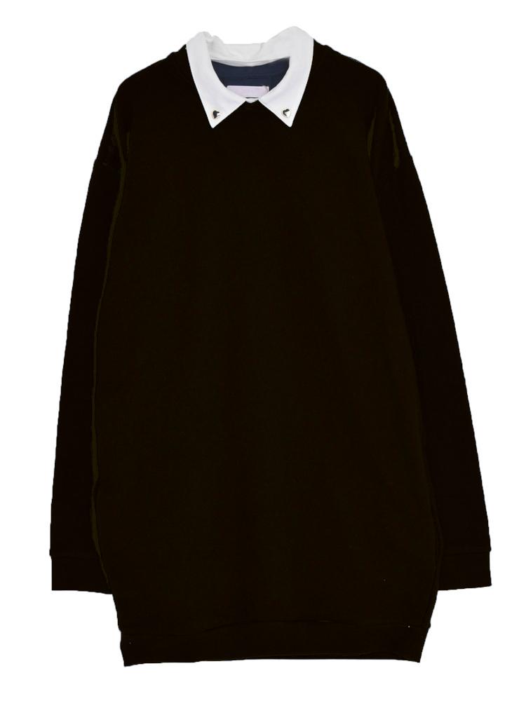 【CASUAL】衿ハートボタンダウンカットOP(ブラック-M)