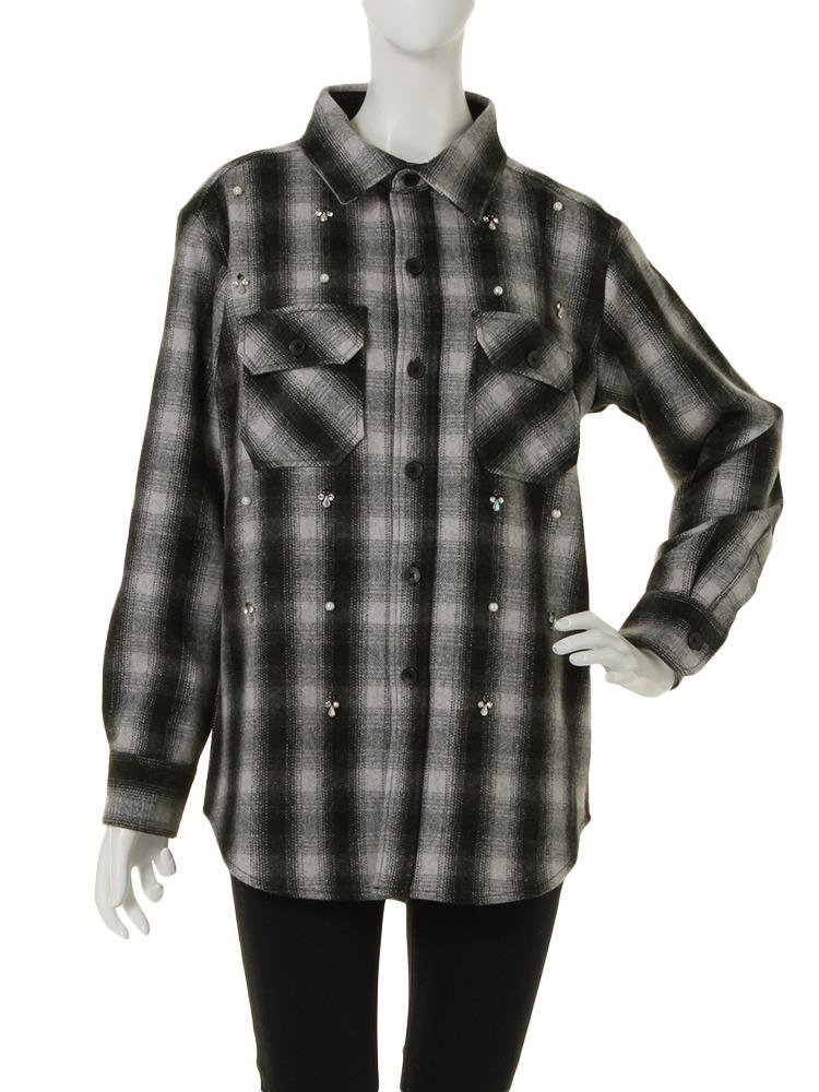 ビジューウールシャツ(オフホワイト-M)