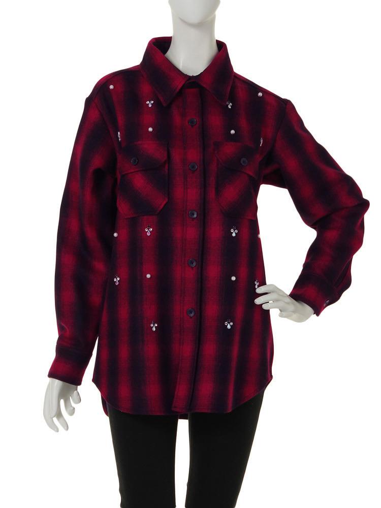 ビジューウールシャツ(レッド-M)