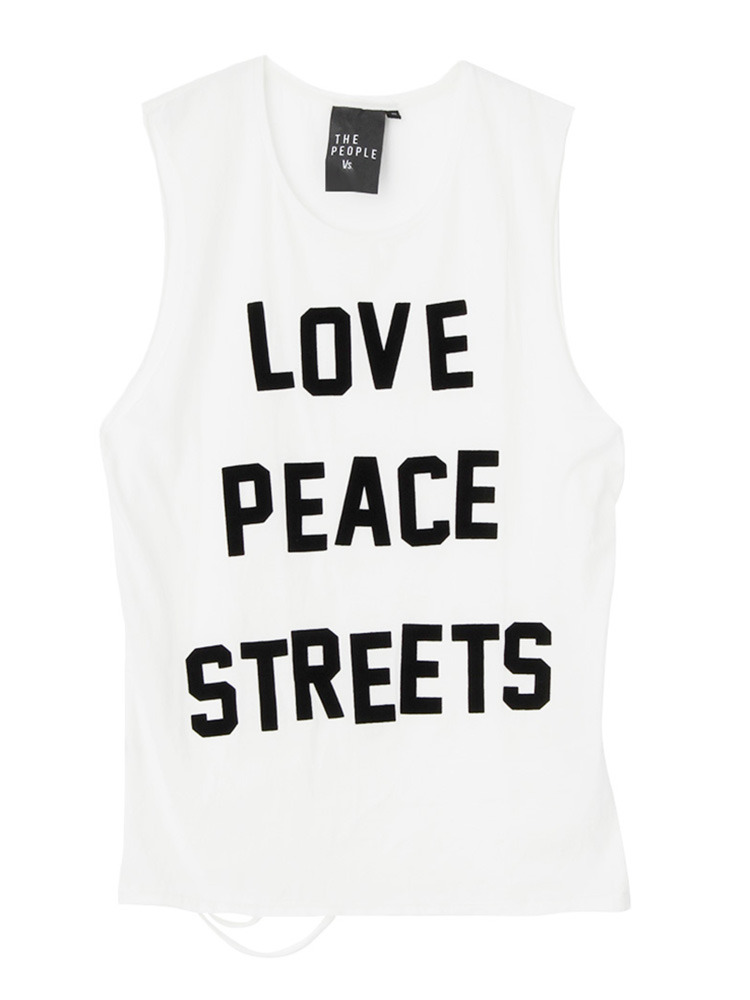 【People vs.】LOVE PEACE STREETS TOPS(オフホワイト-XS)