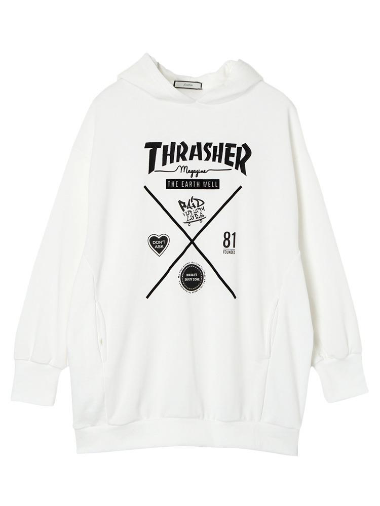 THRASHERコラボパーカー(オフホワイト-M)