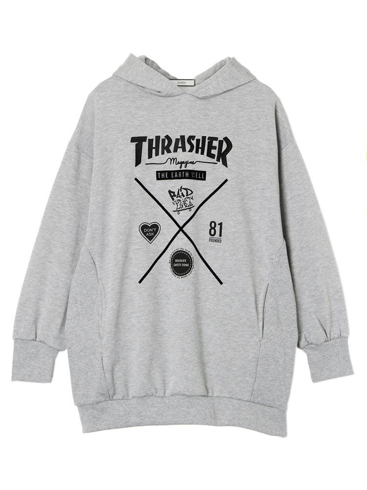 THRASHERコラボパーカー(グレー-M)