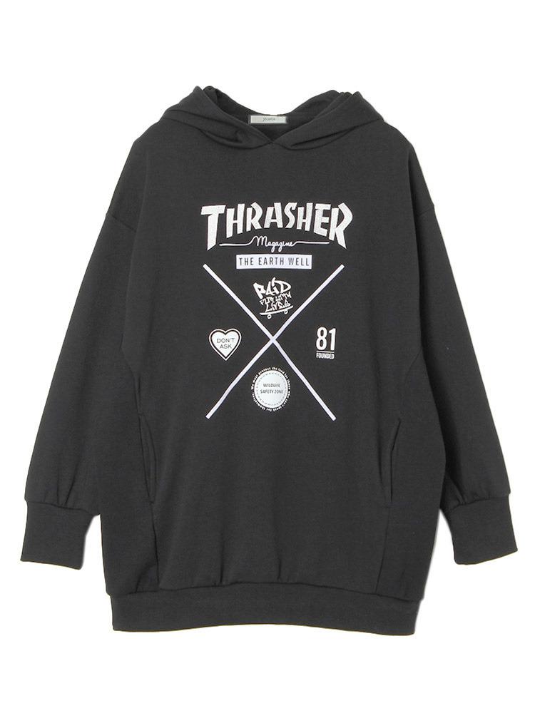 THRASHERコラボパーカー(ブラック-M)
