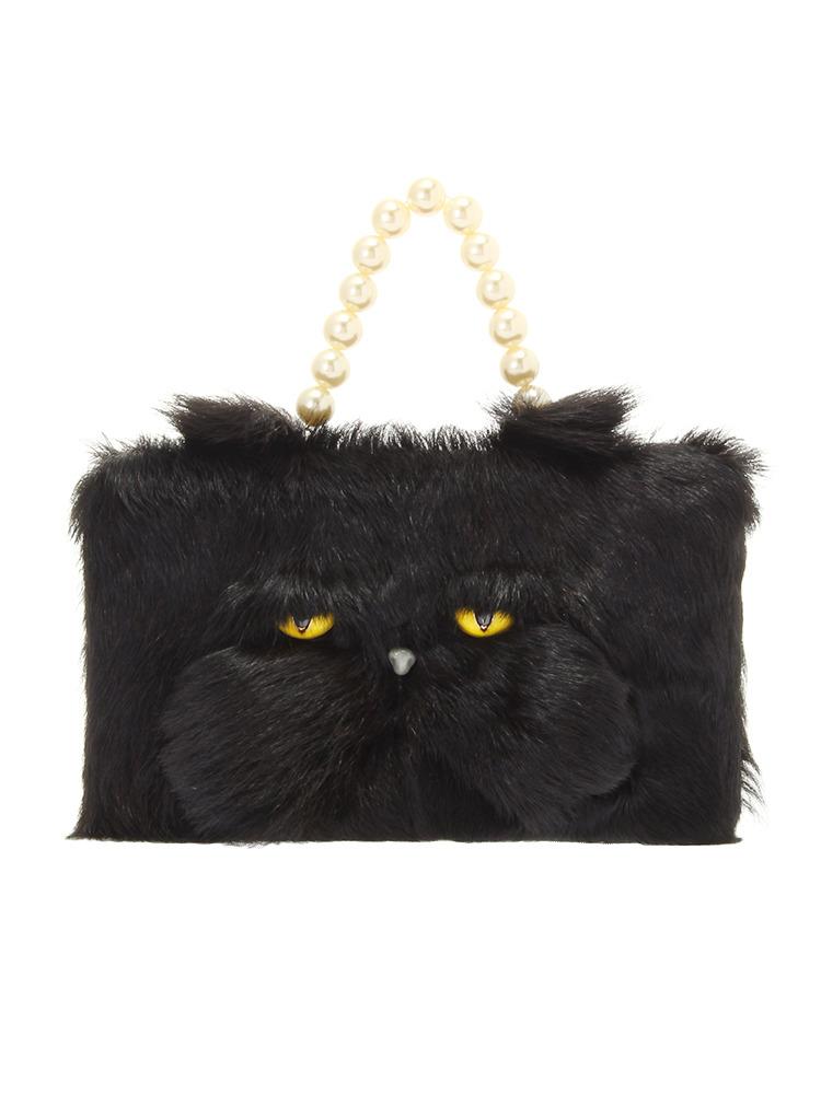 【IMPORT】Black cat clutch bag(ブラック-F)