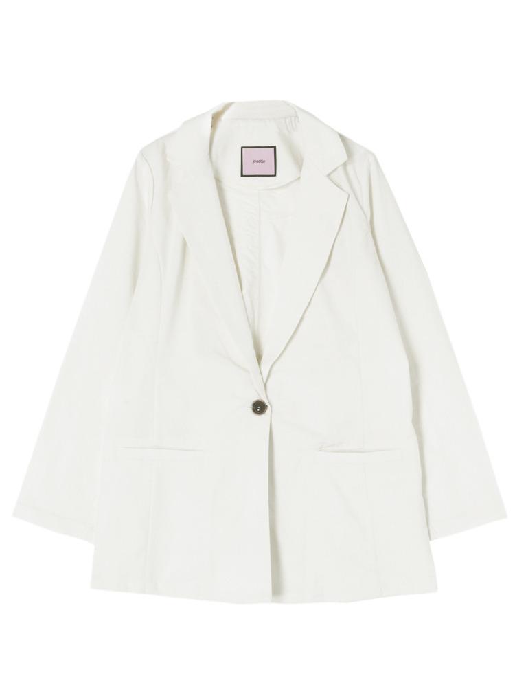 リネン混テーラードジャケット(オフホワイト-M)