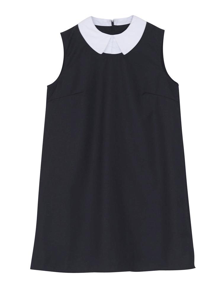 襟付きノースリワンピース(ブラック-M)