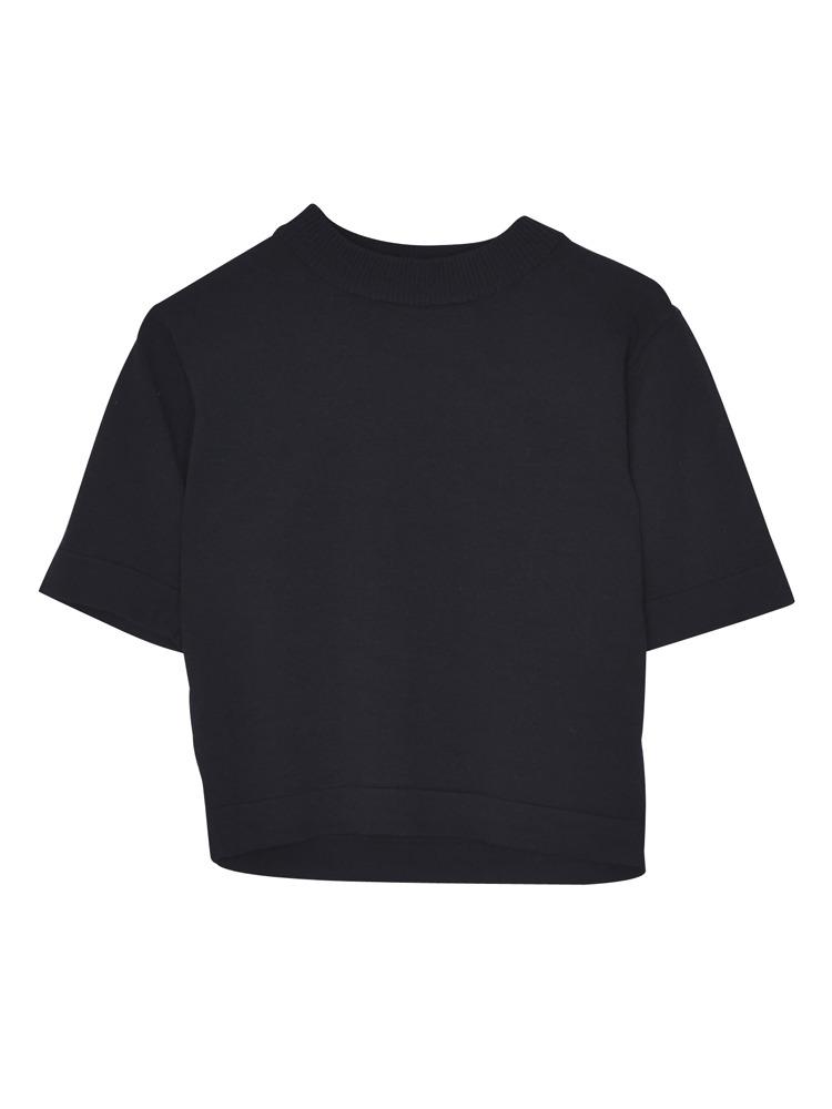 半袖ちびニット(ブラック-M)