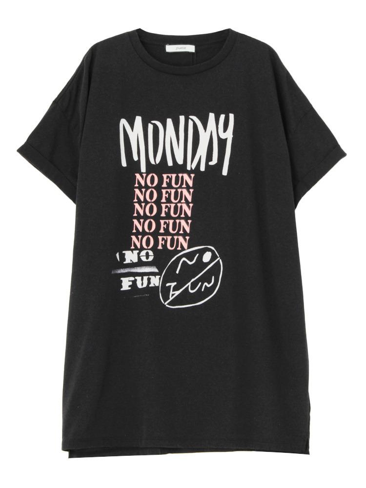 【NYLONコラボ】NO FUN ビックT(ブラック-M)