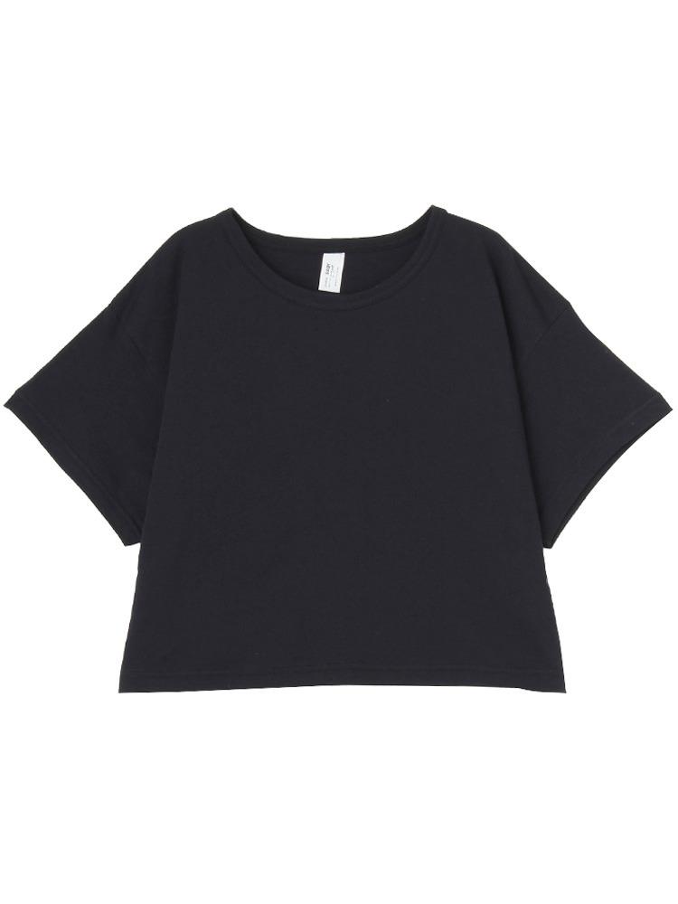 ショート丈Tシャツ(ブラック-M)