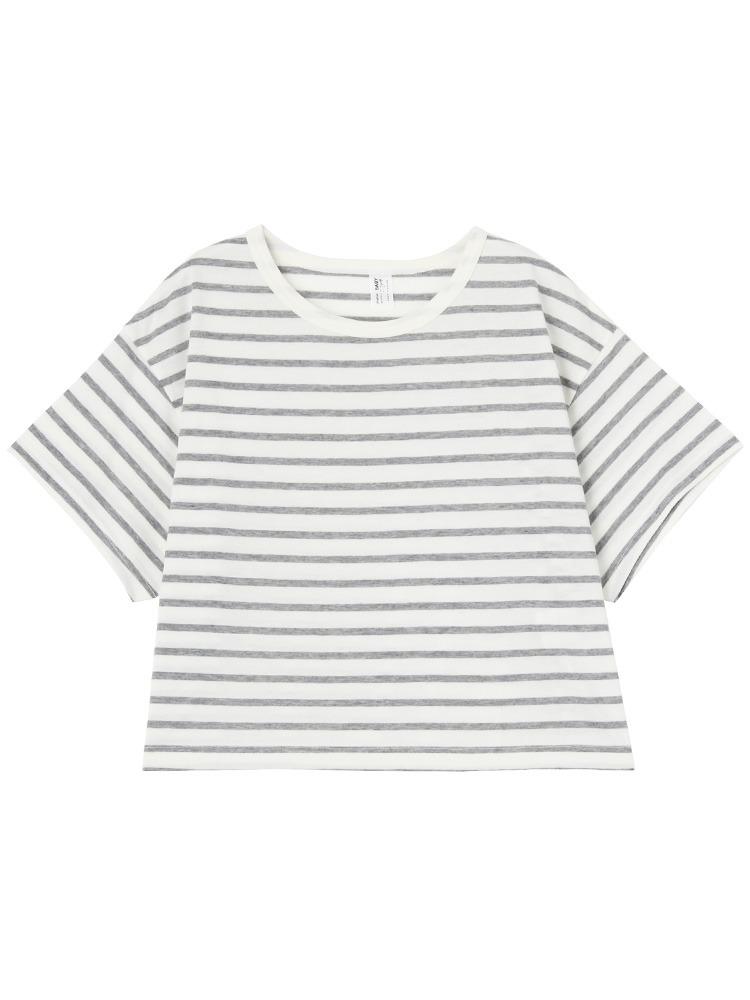 ショート丈Tシャツ(ライトミックス-M)
