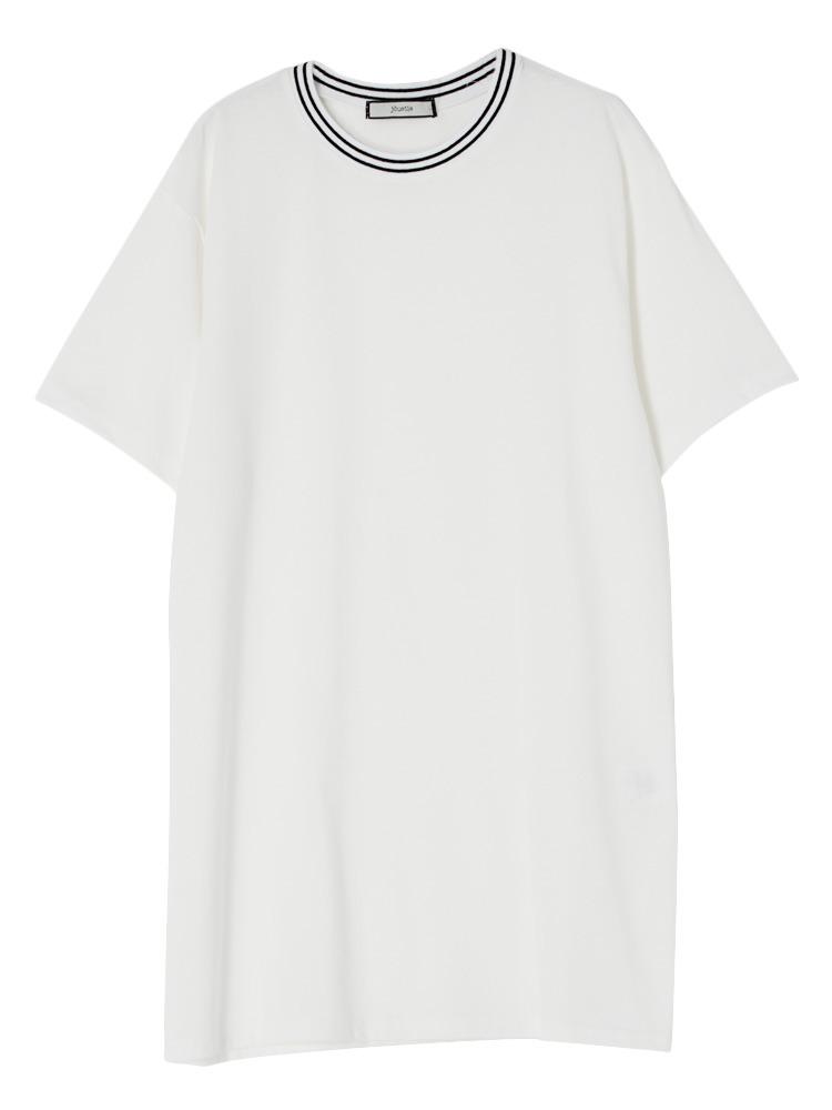 襟ラインリブT(オフホワイト-M)