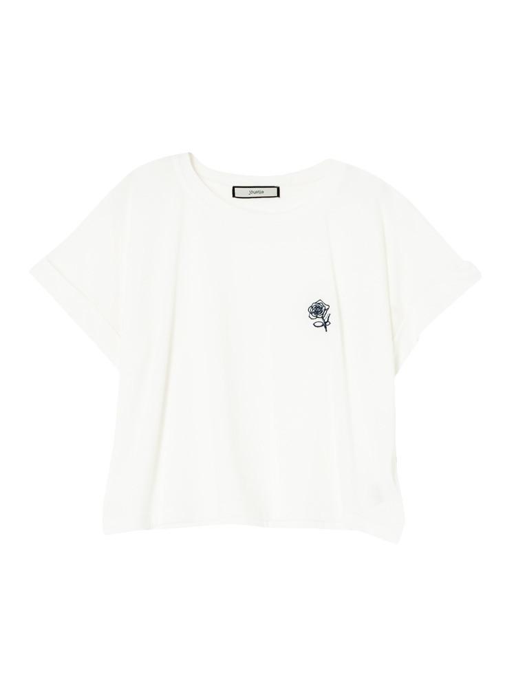 バラ刺繍ショート丈T(オフホワイト-M)