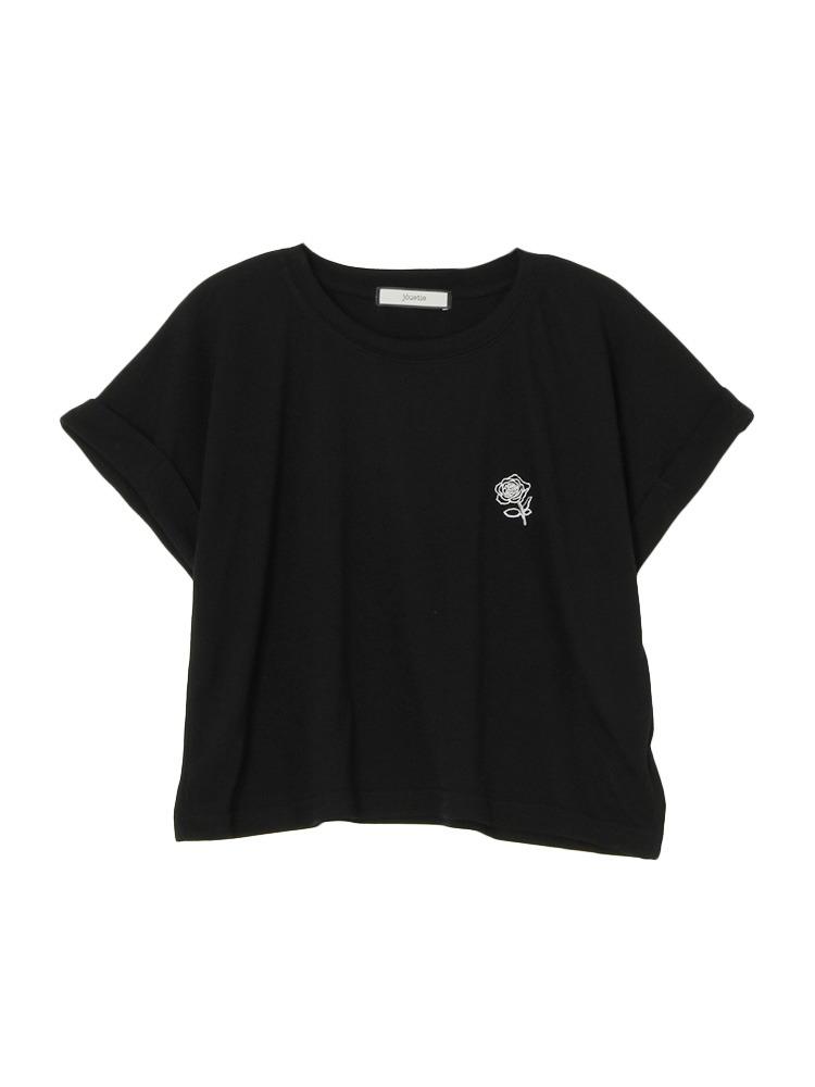 バラ刺繍ショート丈T(ブラック-M)