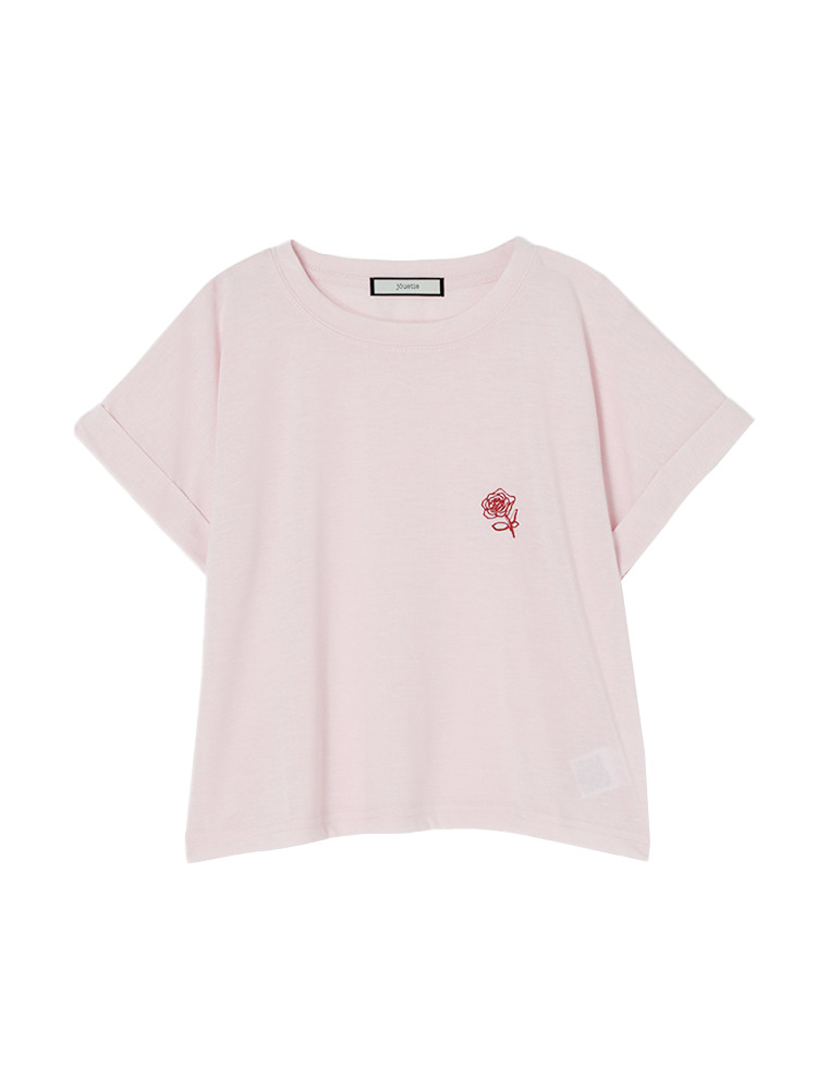 バラ刺繍ショート丈T(ベビーピンク-M)
