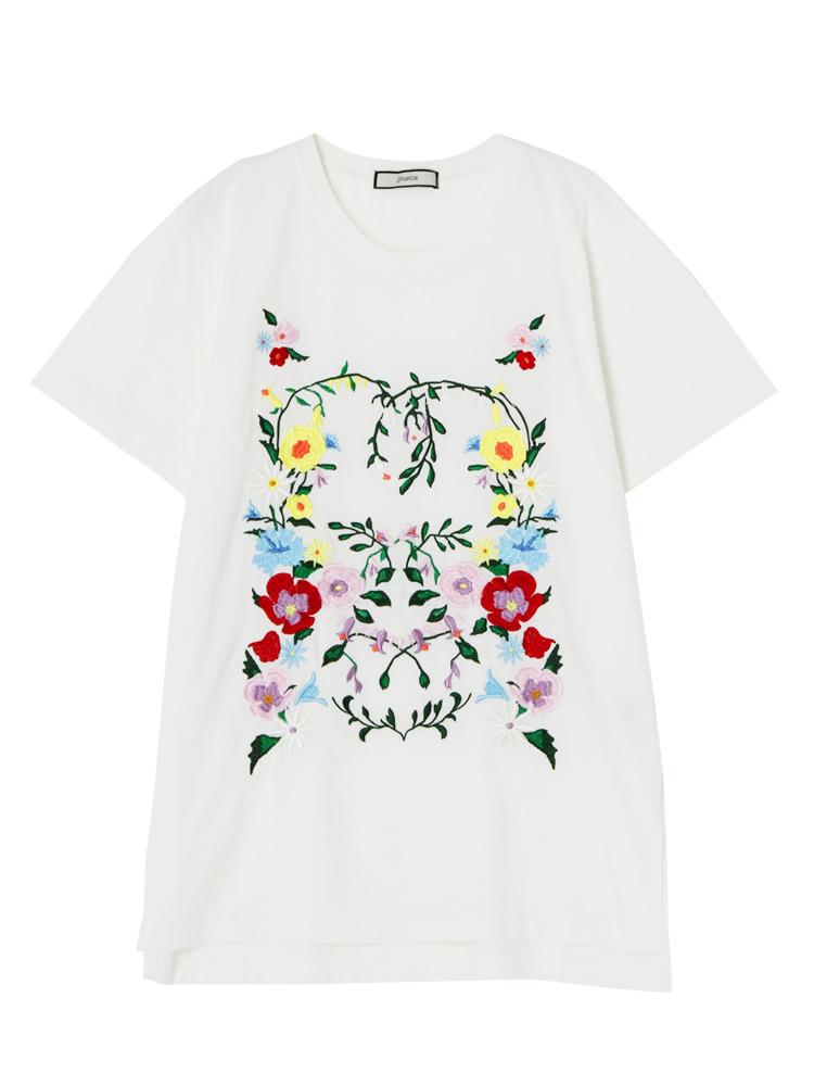 フラワー刺繍T(オフホワイト-M)