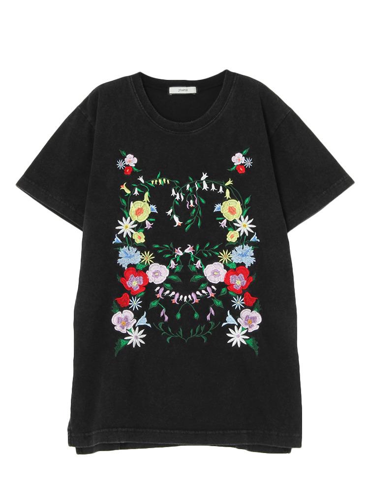 フラワー刺繍T(ブラック-M)