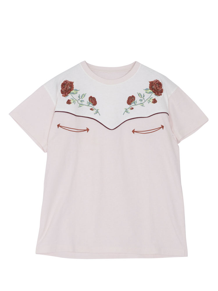WESTERN EMBROIDERY TEE(ベビーピンク-M)