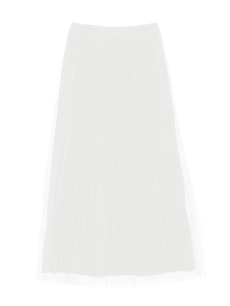 チュールプリーツスカート(オフホワイト-M)