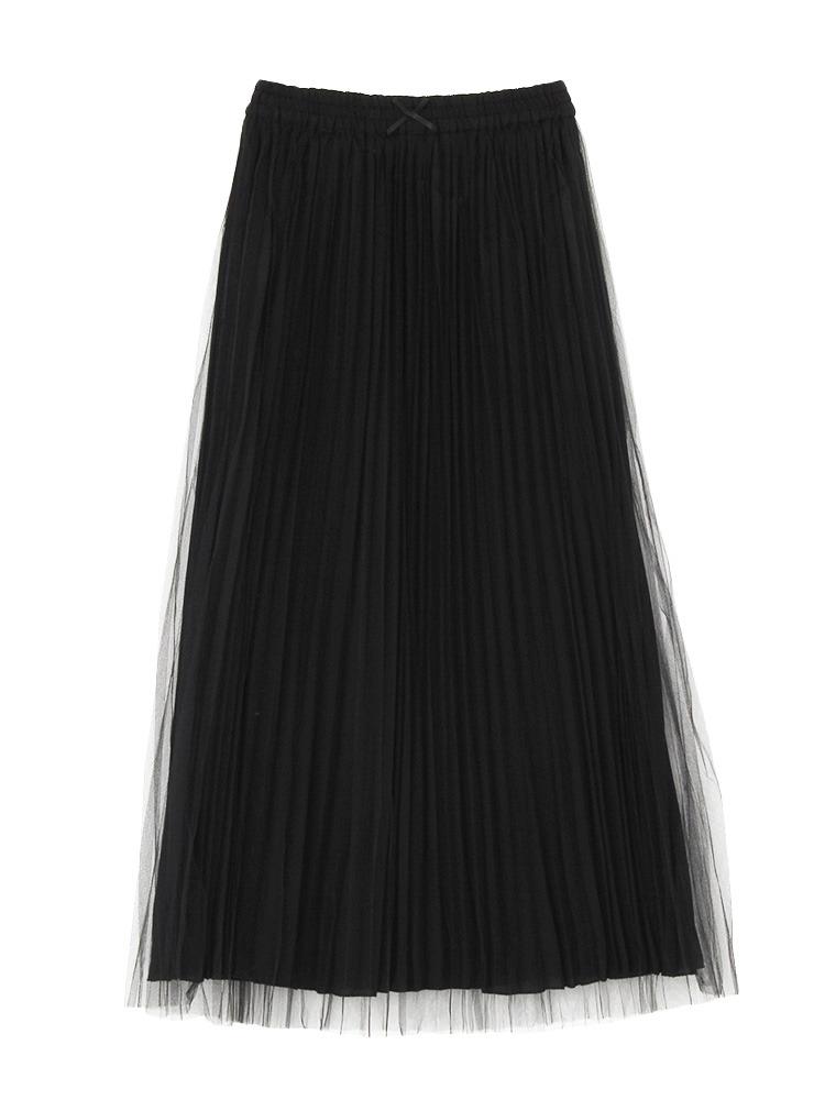 チュールプリーツスカート(ブラック-M)