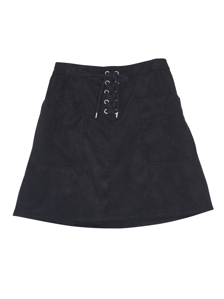 フロントレースアップスカート(ブラック-M)