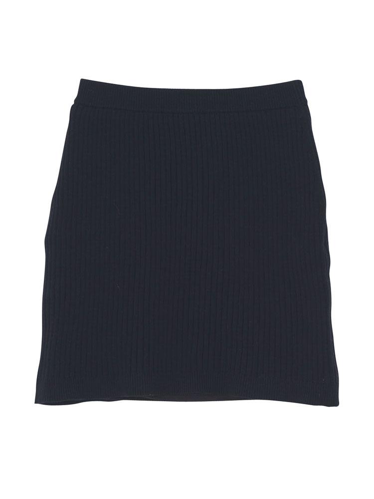 リブニットスカート(ブラック-M)