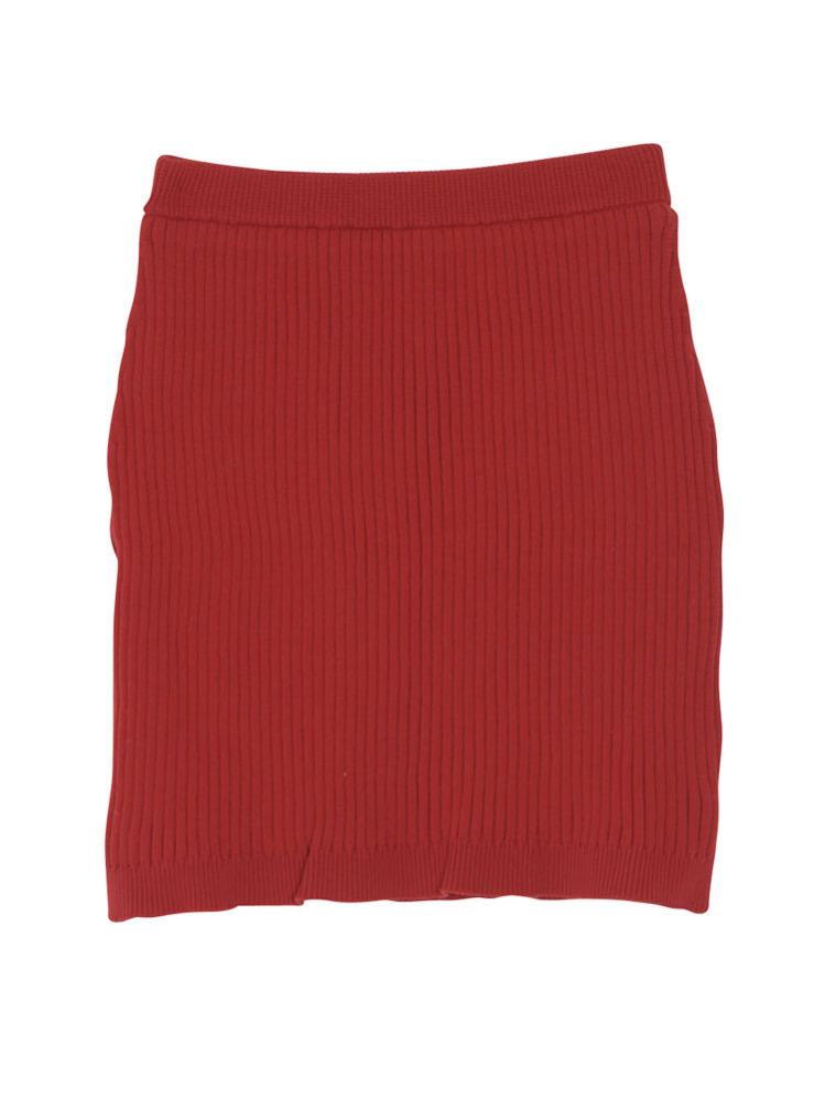 リブニットスカート(レッド-M)