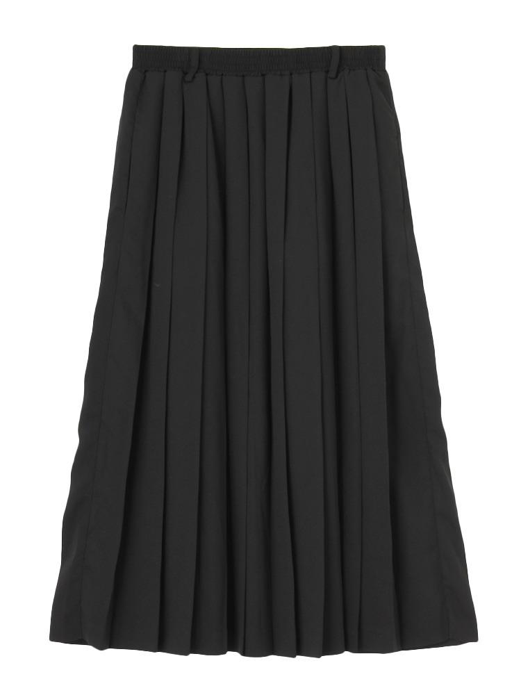 ミモレプリーツスカート(ブラック-M)