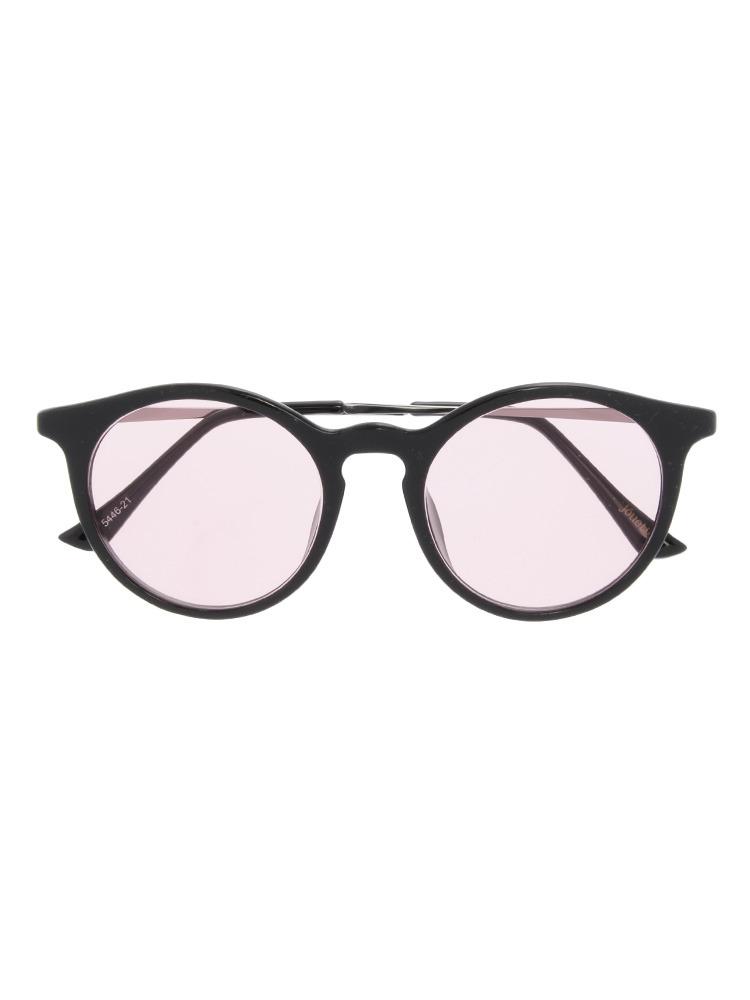ブラックフレームカラーサングラス(ピンク-F)
