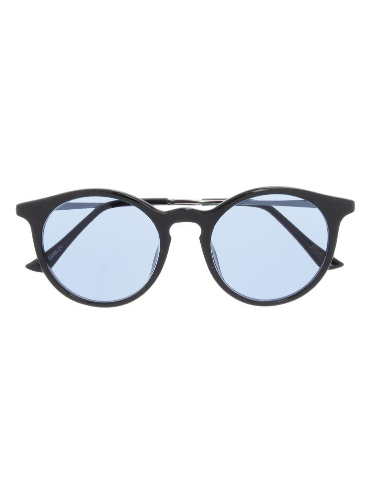 ブラックフレームカラーサングラス(ブルー-F)