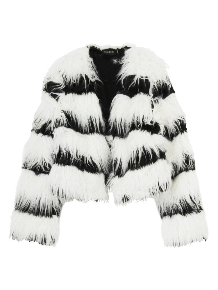 【MINKPINK】In the wild crop fur coat(ホワイト-S)