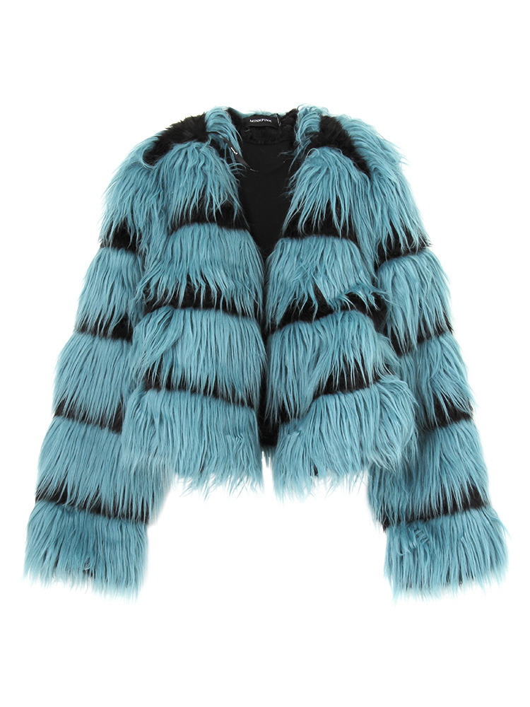 【MINKPINK】In the wild crop fur coat(ブラック-S)