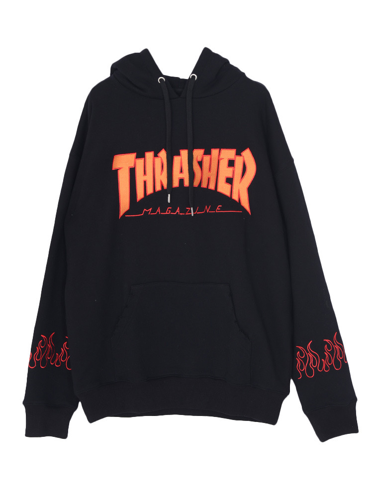 【THRASHERコラボ】ファイヤーHOODIE(ブラック-M)