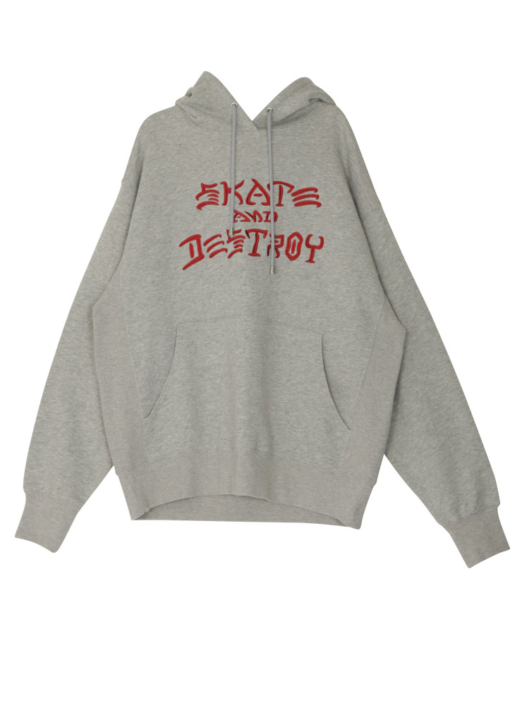 【WEB限定】THRASHER SKATE AND DESTROY HOODIE(グレー-M)