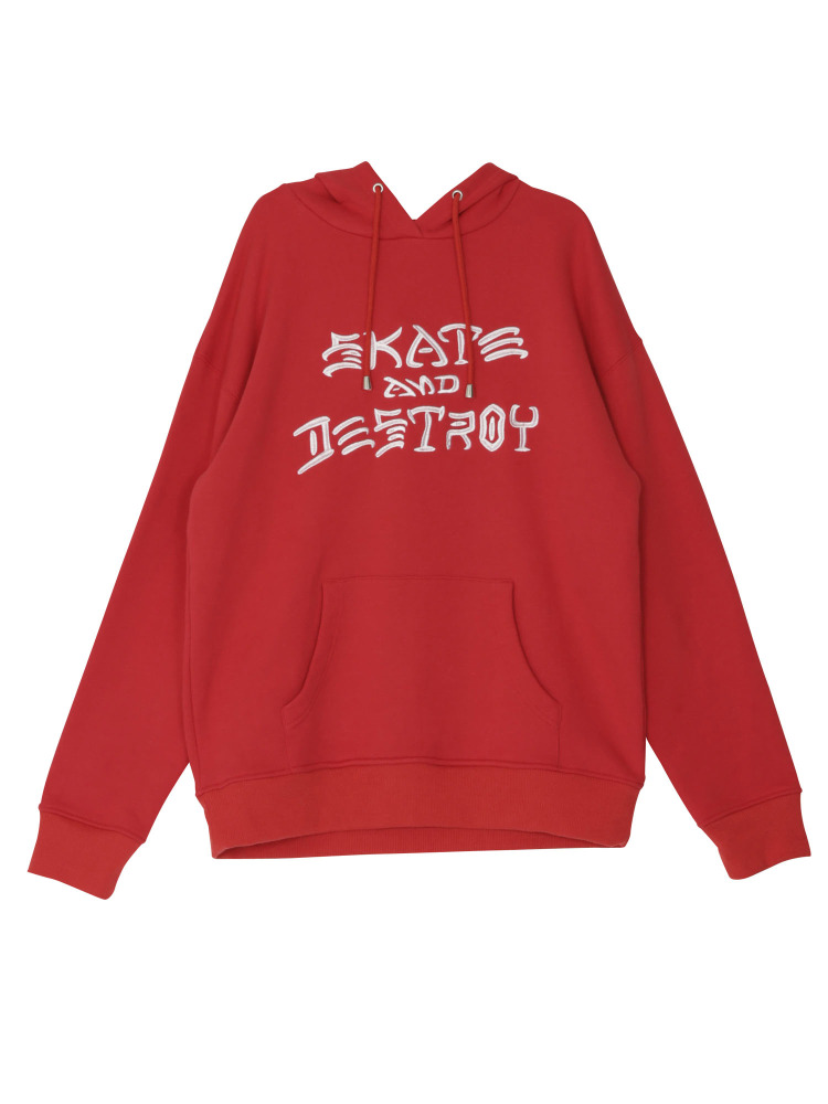 【WEB限定】THRASHER SKATE AND DESTROY HOODIE(レッド-M)