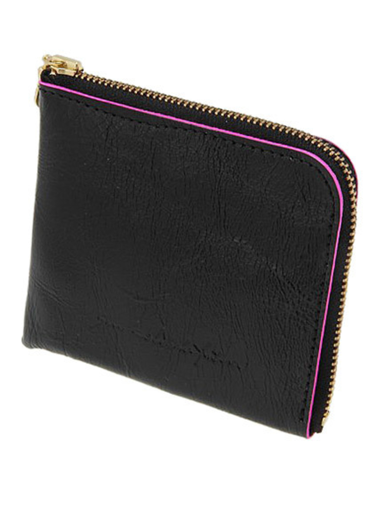 【SAN HIDEAKI MIHARA】カウレザーミニ財布(ブラック-F)