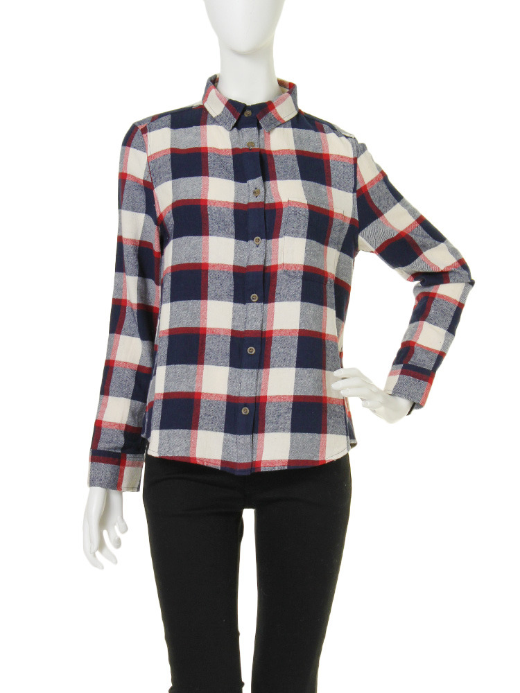 【CB】ネルベーシックチェックシャツ(オフホワイト-F)