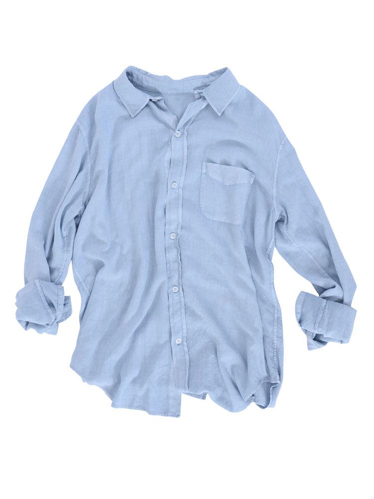 ルーズウォッシュシャツ(ブルー-F)