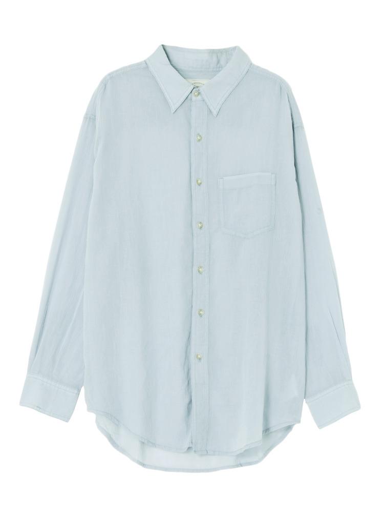 ソフトウォッシュカラーシャツ(ブルー-F)