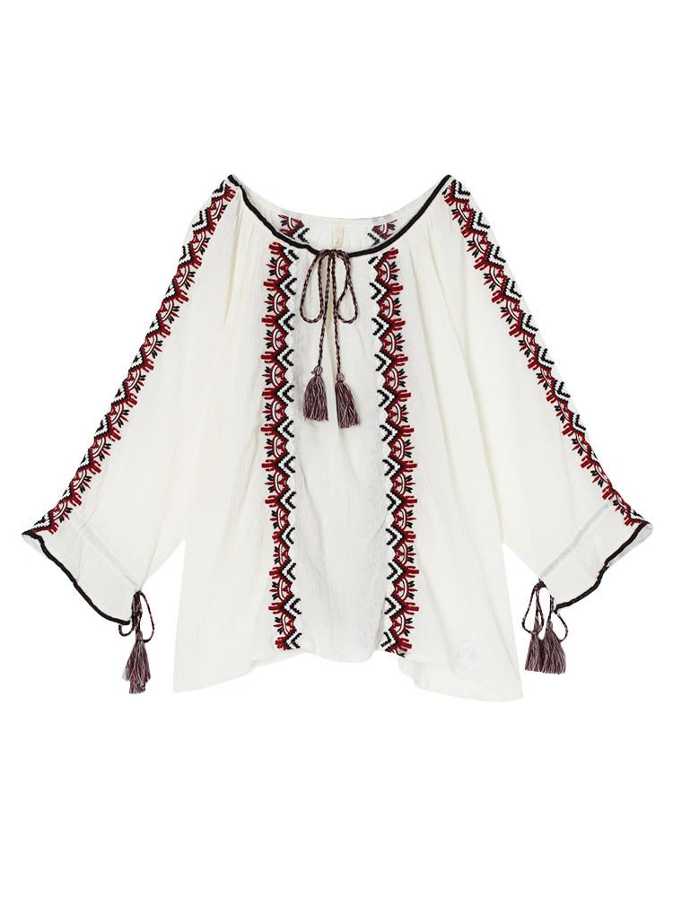 ギャザー刺繍ブラウス(オフホワイト-F)