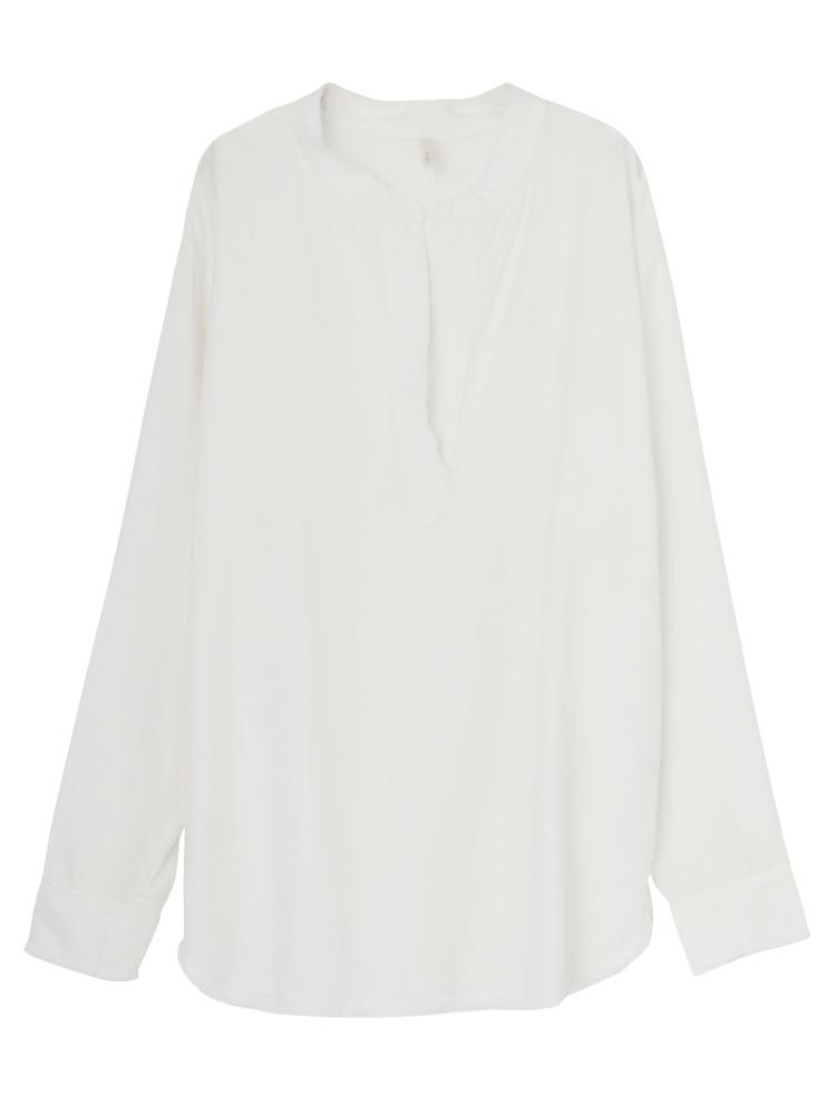 テンセルノーカラーシャツ(オフホワイト-F)