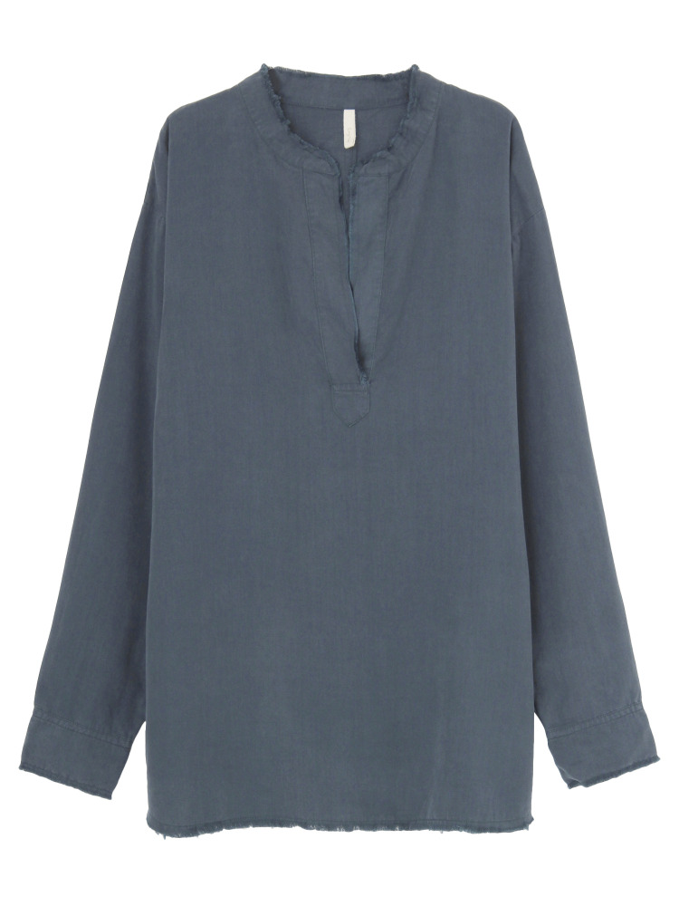 テンセルノーカラーシャツ(ネイビー-F)